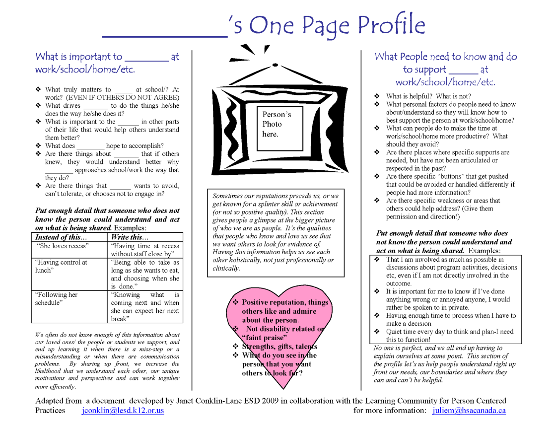 Guide to writing one-page profiles